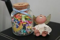 Morning Glory Blue Bear Glass Jar Origami with Miss You Angel