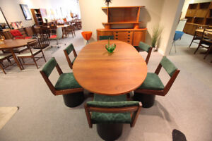TEAK MID CENTURY TABLE AND CHAIRS