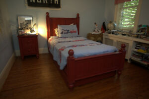 Pottery Barn Camp Bed - Twin - Red - Includes mattress - $450