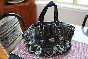 Genuine*COACH Bag/Purse/Tote*Black*Haircalf Animal Print*