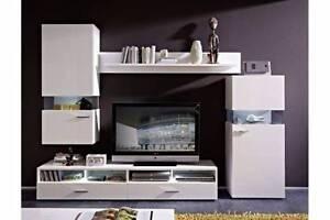 4 Pieces TV Unit & Storage Set - White Gloss Malaga Swan Area Preview