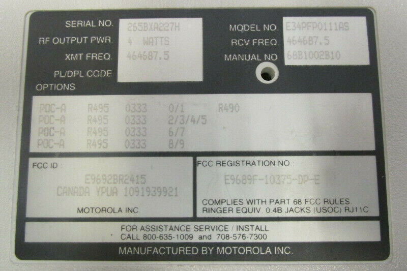Motorola E34PFP0111AS People Finder Plus Paging System Transmitt