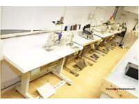 Fashion Workspace in full equipped industrial sewing machines, pattern cutting tables Central London