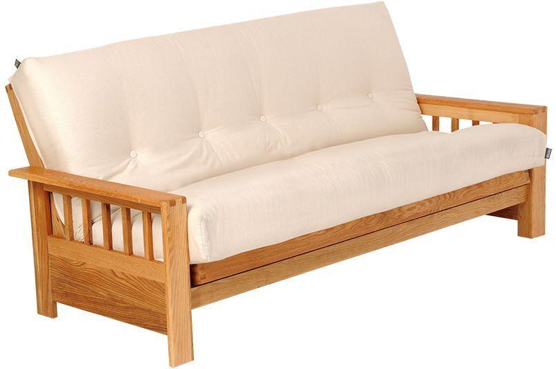 Contemporary Solid Oak 3 Seat Sofa Bed Futon Company