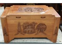 Hand Carved Chinese Camphor Lined Linen Chest Or Trunk Blanket Box
