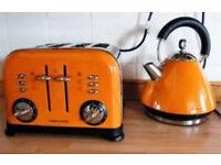 Morphy Richards orange 4 slice toaster and kettle set