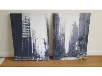 New York Taxis City Scape Mono Canvas Art Set