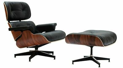 Eams Lounge Chair And Ottoman Footstool Italian Real Leather Rosewood Last Sale