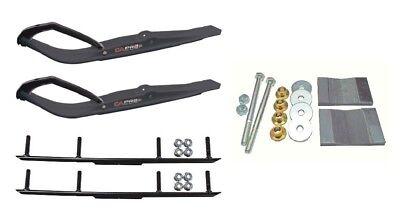 "C&A Pro Black Razor Snowmobile Skis w/ 4"" Round Bars Complete Kit"