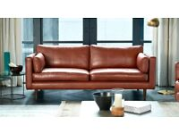 French Connection Marl DFS Sofa - Large size - Tan Leather - as new.