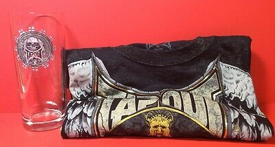 TAPOUT Tee Shirt & Glass Black Short Sleeve Size 18/20 XL NWT & Clear Skull Pint Black 20 Skulls T-shirt