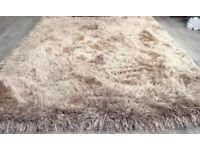 Beige and mink luxury shaggy rug 160x230
