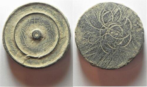 ZURQIEH -aa3946- INTERESTING WEIGHT: BYZANTINE. AE 2 uncia (?) disk weight (40 x
