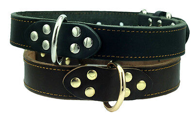 "High Quality Genuine Leather Dog Collar, Black 1.2"" wide Fits For 16-21""neck"