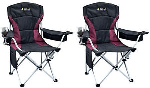 2 X OZTRAIL MODENA SPORT (BLACK) Folding Camping Picnic Arm Chair