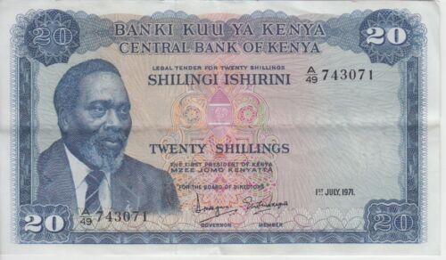 Kenya Banknote P8b 20 Shillings 1.7.1971 prefix A/49, VF-EF