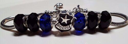 Thin Blue Line Police Badge European Bracelet with Gun Dangle & Heart Drop Chain