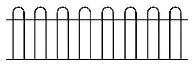 Hoop Top Garden Railing Fence Panel 1830mm 6ft GAP x 492mm H metal fencing CR03