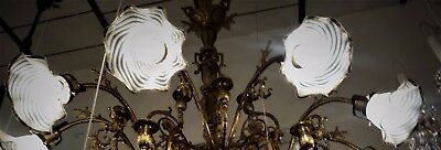 19C Florentine Lian Gilt Bronze Early Electric Chandelier w/ Art Glass