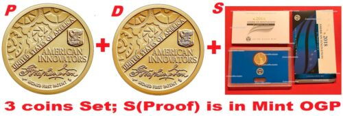 """3-coin-set 2018 P-D-S American Innovation Dollar $1 US Mint bu+""""proof is w/OGP"""""""