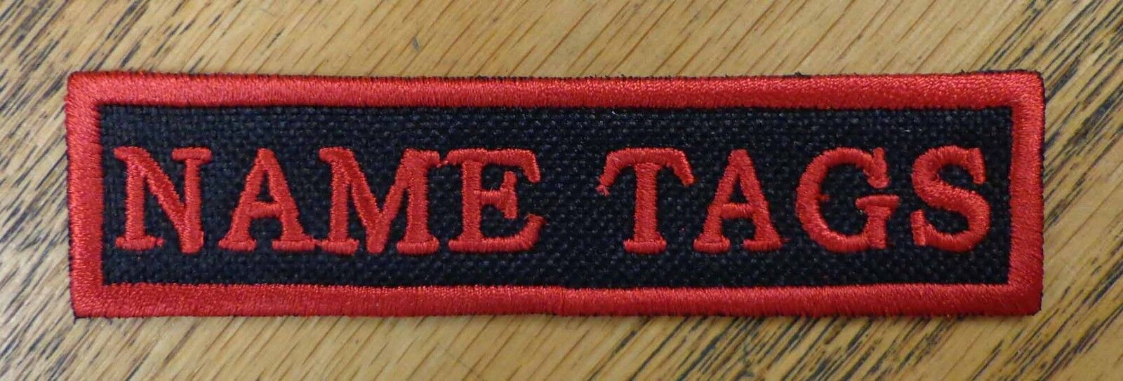CUSTOM EMBROIDERED PATCH NAME TITLE TAG 1 X 4 INCH TABS MADE IN USA