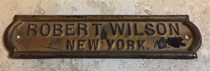 "Cast Iron ""Robert Wilson"" Piano Nameplate from circa early 1900"