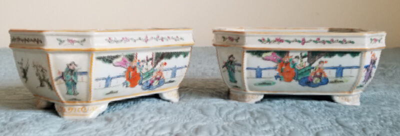 Pair antique Chinese famille rose porcelain narcissus planter