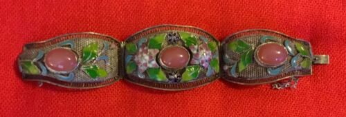 ANTIQUE SILVER PLATE ON BRASS, ENAMELED & AGATE FILIGREE CHINESE BRACELET