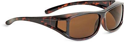 Überbrille Sonnenbrille über Brille Coverbrille Sun-Cover braun groß XL Neu