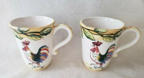 Fitz & Floyd RICAMO PORTOFINO Coffee MUGS ROOSTERS SET of 2 - EUC