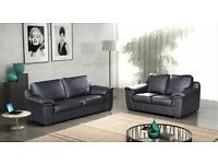 Leather 3+2 sofas brand new BLACK OR BROWN FREE STORAGE POUFFE