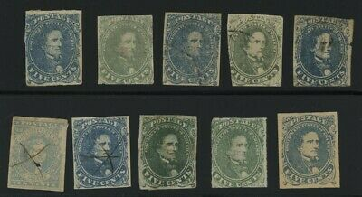 Mr Fancy Cancel CSA GROUP OF TEN CSA STAMPS #1 TO #5 UNUSED USED NO RESERVE