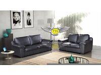 Black Faux Leather 3&2 Sofa Amy