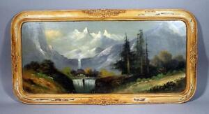 Antique-19th-Century-Original-American-Oil-Painting-signed-Landscape-frame-glass