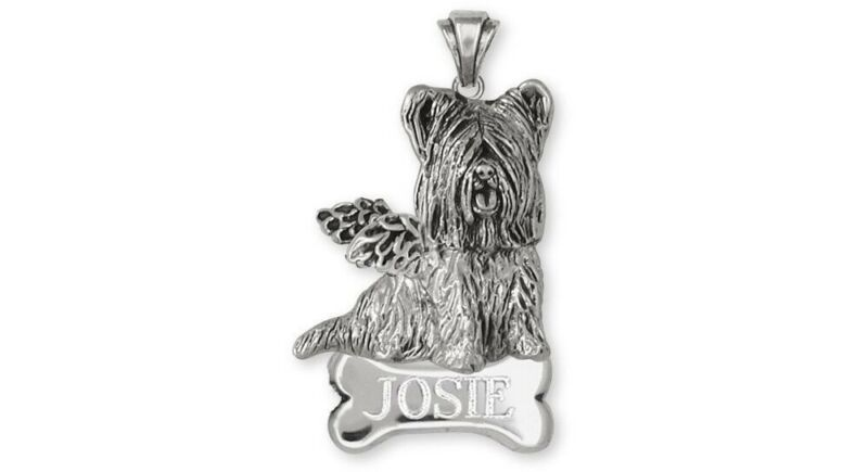 Skye Terrier Angel Personalized Pendant Jewelry Sterling Silver Handmade Dog Per