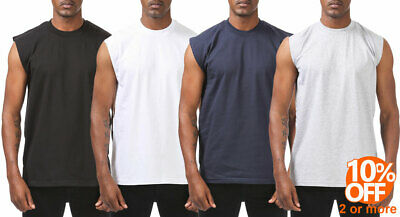 Mens Heavyweight Sleeveless Muscle T-Shirt Tank Top Active Gym Workout Tee Clothing, Shoes & Accessories