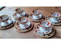 Royal Albert Lady Hamilton Tea Set - 18 Piece - 6 Trios. Cups, Saucers, Plates. Fine Bone China