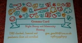 Experienced Night Nanny taking booking for April 2018 onwards.