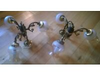 Set of two three lamp fittings and two wall lights - brass with gold edged glass holders