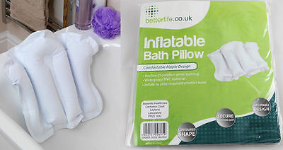 Inflatable Bath Pillow with Suction Cup New Head Rest Travel Cushion Comfort NEW