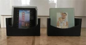 2 set of photos glass saucers
