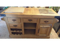 Rustic Furniture Village Solid Well Made Oak Kitchen Island Buffet On Wheels Excellent Condition for sale  Rye, East Sussex