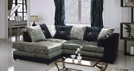 Stunning crushed velvet sofa suite 3n2 seater or corner couch