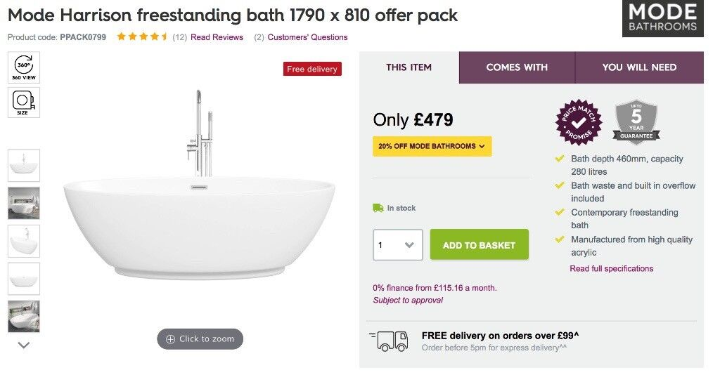 Mode Harrison Freestanding Bath