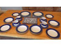 Blue and White Fine China Sabichi 4 Piece Tea Set with extras Dishwasher Safe