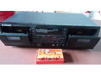 Double Cassette Tape Deck Pioneer CT-W504R Recorder + Auto Reverse, Dolby B-C NR HX PRO