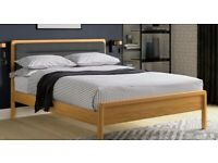 Never used Wooden Double Bed Frame with Cushioned Headboard