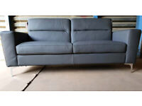 Ex Display Genuine Leather 3 Seater Sofa - Charcoal.