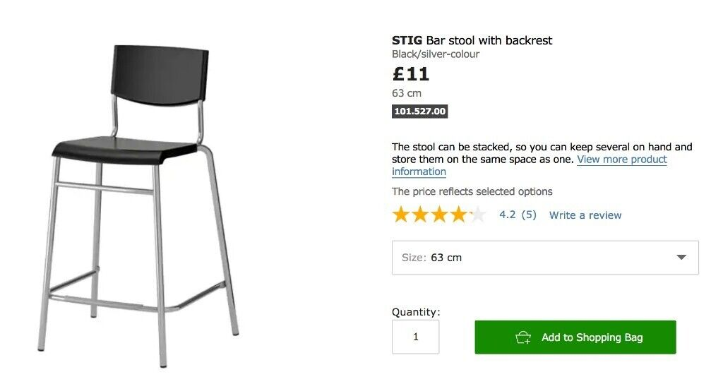 Astounding Ikea Stig Bar Stool With Backrest Black Silver Colour In Winchester Hampshire Gumtree Gmtry Best Dining Table And Chair Ideas Images Gmtryco