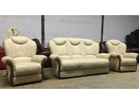 3+1+1 cream leather Italian Verona sofa, couch, suite DELIVERY AVAILABLE
